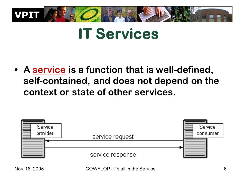 VPIT Nov. 18. 2005COWFLOP - ITs all in the Service6 IT Services A service is a function that is well-defined, self-contained, and does not depend on t