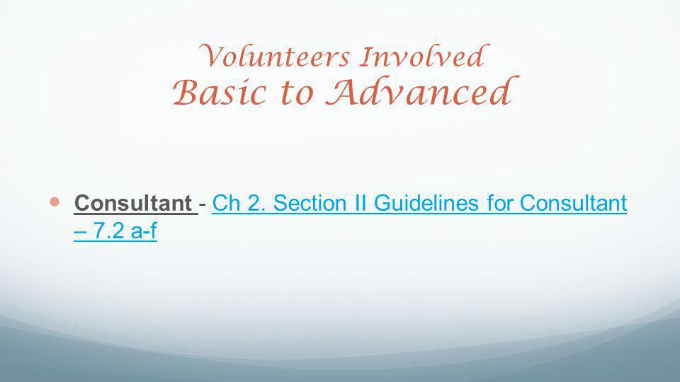 Volunteers Involved Basic to Advanced Consultant - Ch 2.