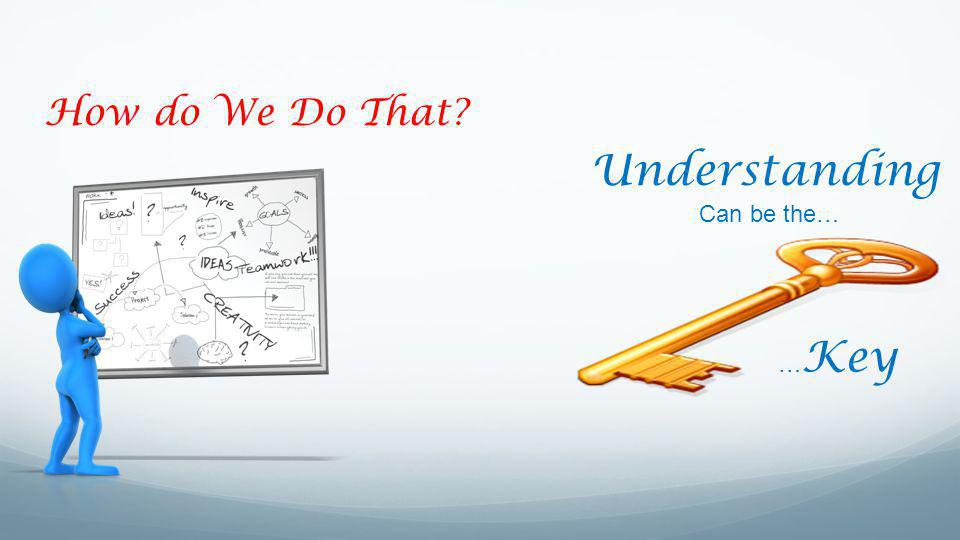 How do We Do That? … Key Understanding Can be the…