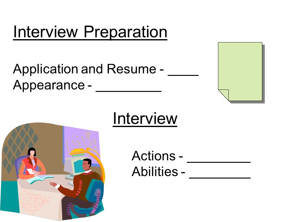 Interview Preparation Application and Resume - Appearance - Interview Actions - Abilities -