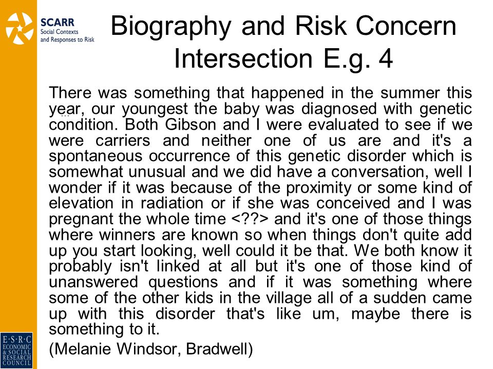 Biography and Risk Concern Intersection E.g.
