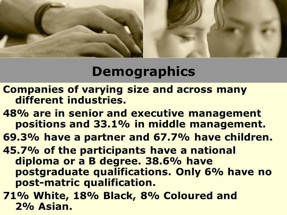Demographics Companies of varying size and across many different industries. 48% are in senior and executive management positions and 33.1% in middle