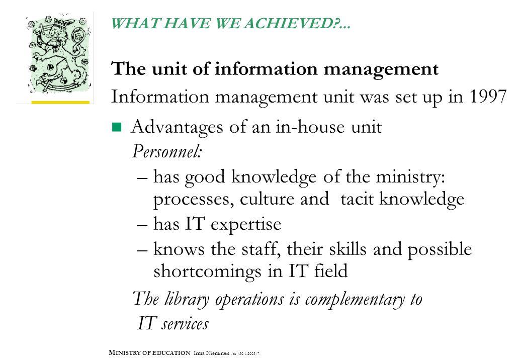 M INISTRY OF EDUCATION Irma Nieminen /ea /30.1.2003/7.