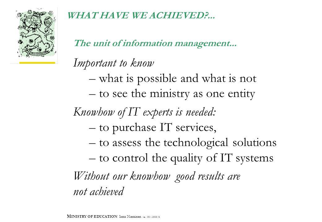 M INISTRY OF EDUCATION Irma Nieminen /ea /30.1.2003/8.