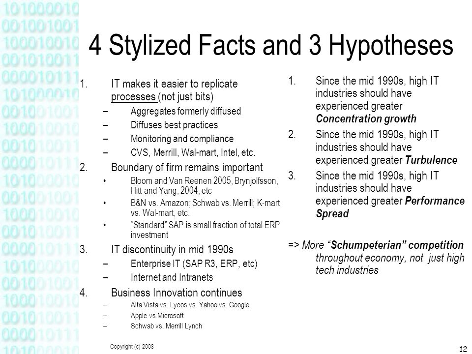 Copyright (c) 2008 12 4 Stylized Facts and 3 Hypotheses 1.IT makes it easier to replicate processes (not just bits) –Aggregates formerly diffused –Dif