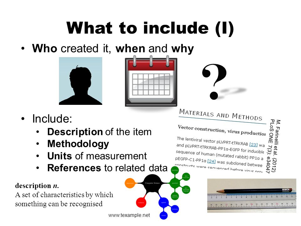 What to include (II) CC Gavin Llewellyn http://www.flickr.com/photos /gavinjllewellyn/6826303487/ Provide technical information about the file (may be generated automatically) Define jargon, acronyms and code