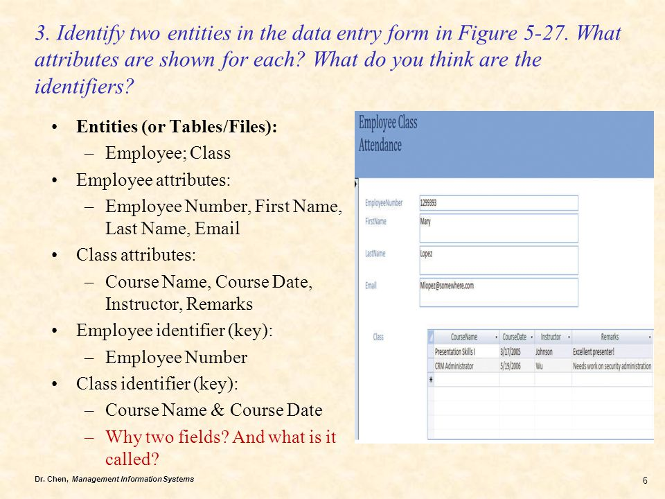Dr. Chen, Management Information Systems 6 3. Identify two entities in the data entry form in Figure 5-27. What attributes are shown for each? What do
