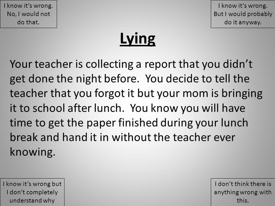Lying Your teacher is collecting a report that you didn't get done the night before.
