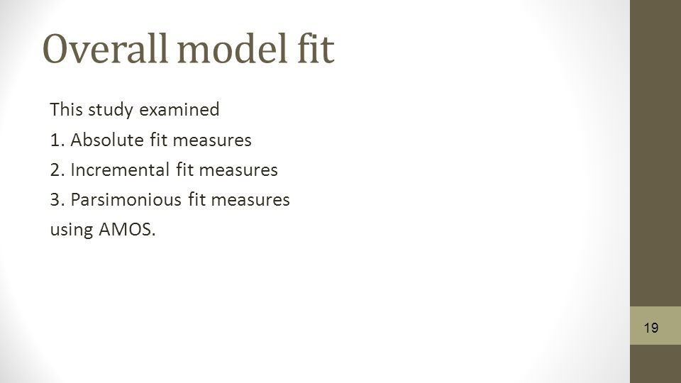 Overall model fit This study examined 1. Absolute fit measures 2.