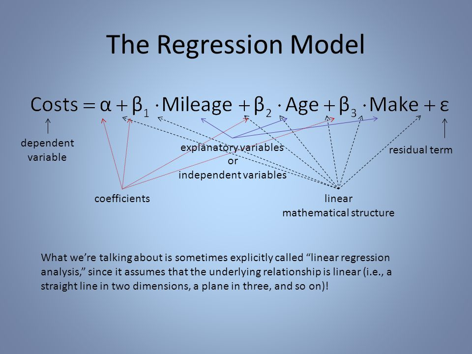 The Regression Model dependent variable explanatory variables or independent variables residual term coefficientslinear mathematical structure What we're talking about is sometimes explicitly called linear regression analysis, since it assumes that the underlying relationship is linear (i.e., a straight line in two dimensions, a plane in three, and so on)!
