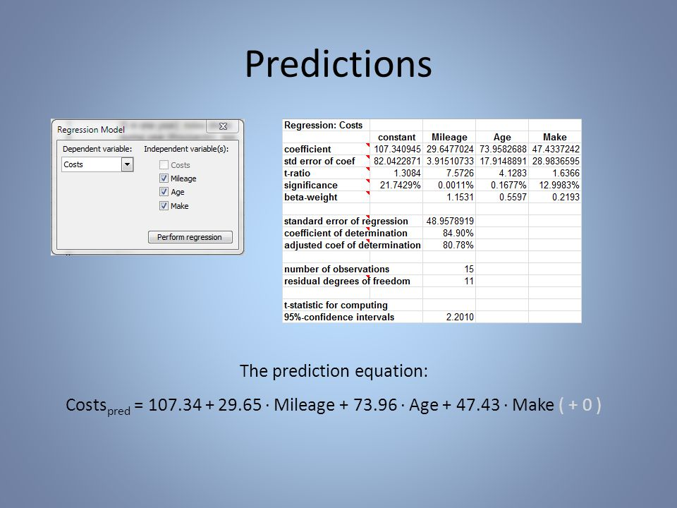 Predictions The prediction equation: Costs pred = 107.34 + 29.65 · Mileage + 73.96 · Age + 47.43 · Make ( + 0 )