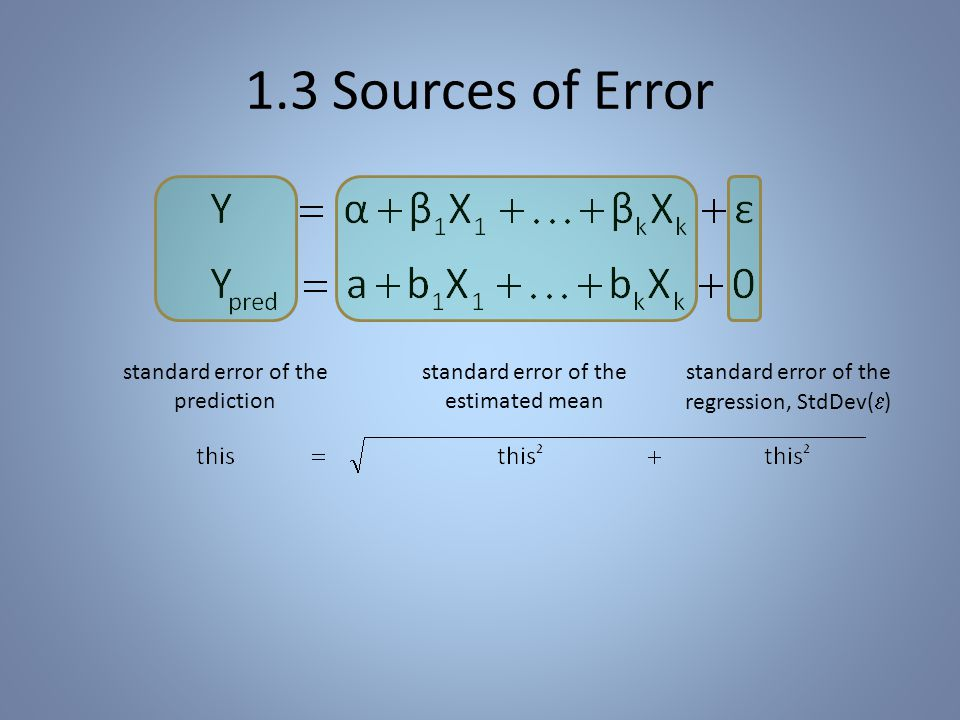 1.3 Sources of Error standard error of the regression, StdDev(  ) standard error of the estimated mean standard error of the prediction