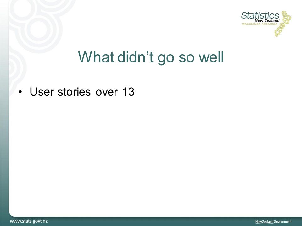What didn't go so well User stories over 13
