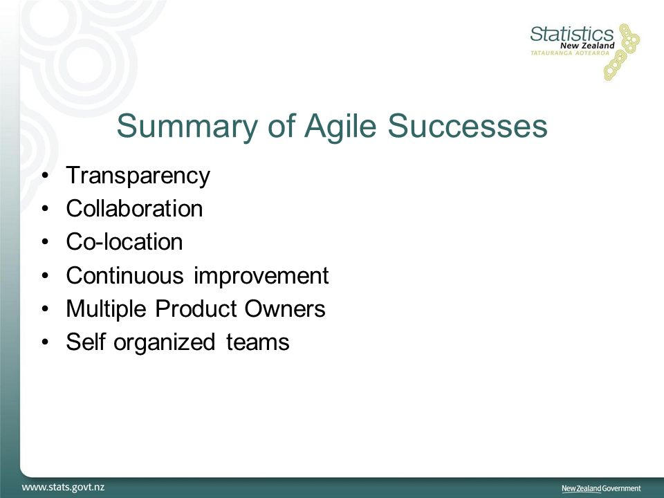 Summary of Agile Successes Transparency Collaboration Co-location Continuous improvement Multiple Product Owners Self organized teams
