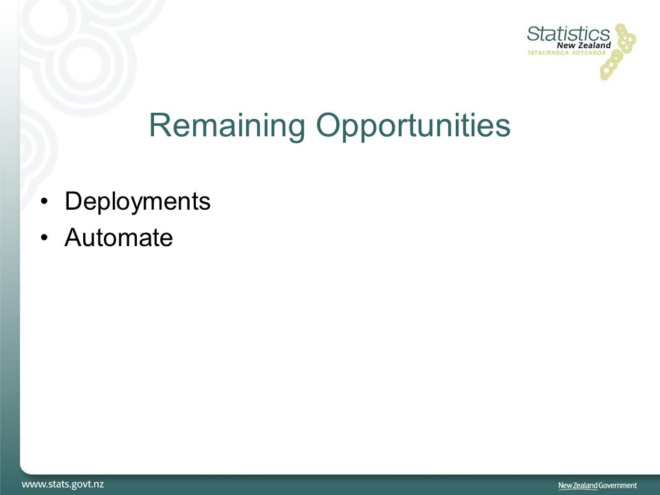 Remaining Opportunities Deployments Automate