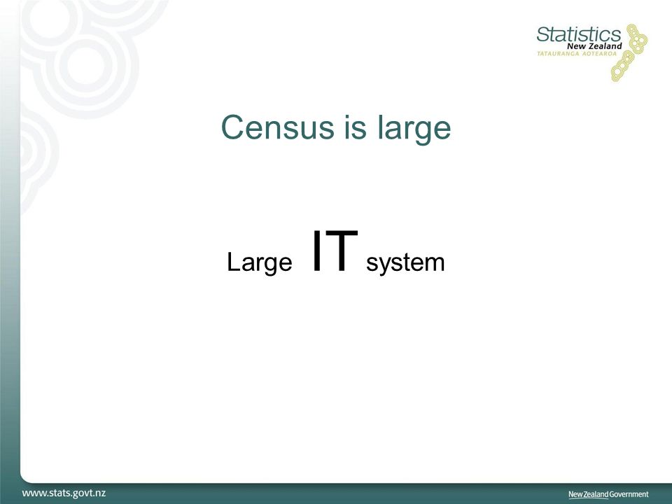 Census is large Large IT system