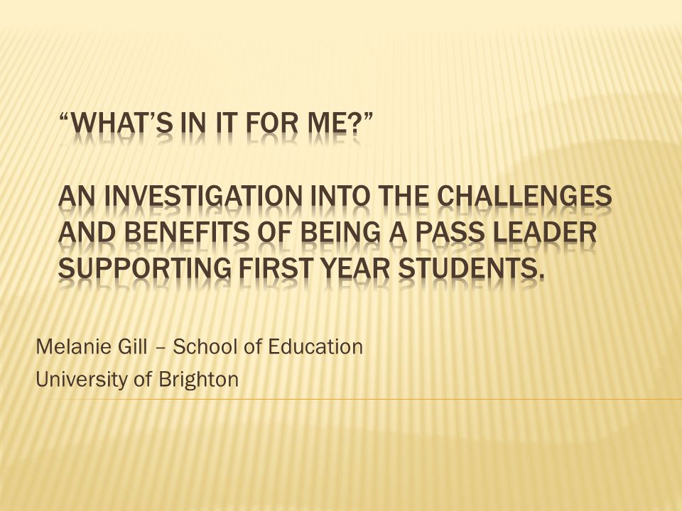 Melanie Gill – School of Education University of Brighton