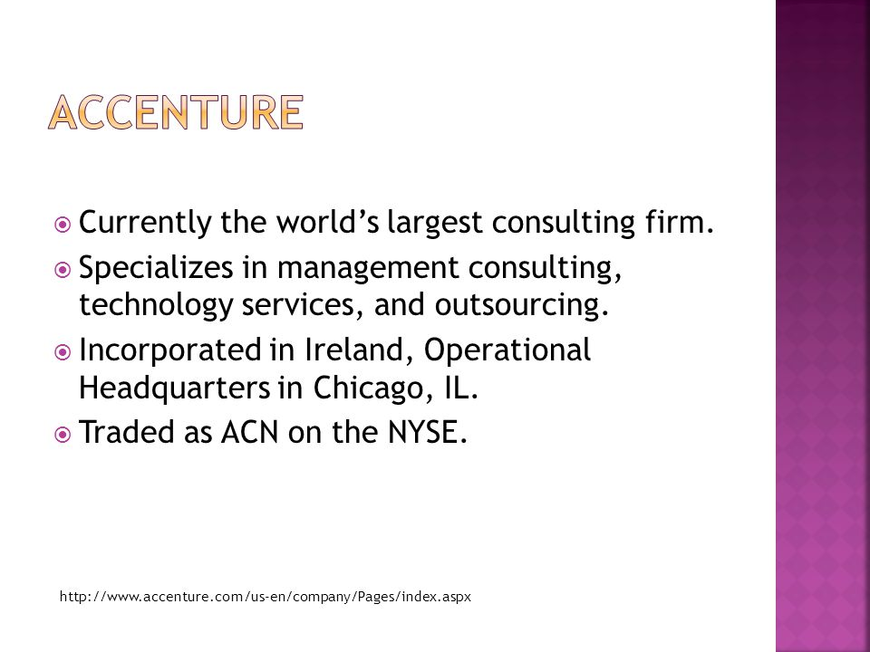  Currently the world's largest consulting firm.