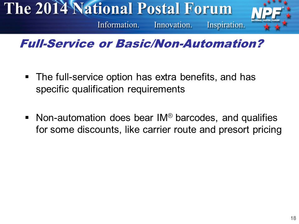 18 Full-Service or Basic/Non-Automation.