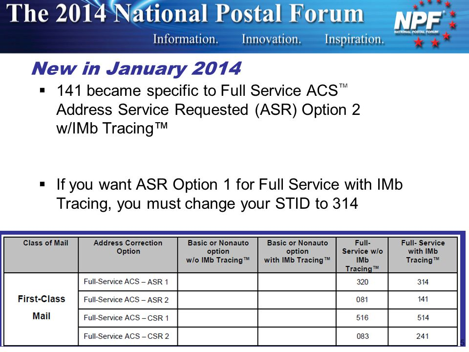 25 New in January 2014  141 became specific to Full Service ACS ™ Address Service Requested (ASR) Option 2 w/IMb Tracing™  If you want ASR Option 1 for Full Service with IMb Tracing, you must change your STID to 314