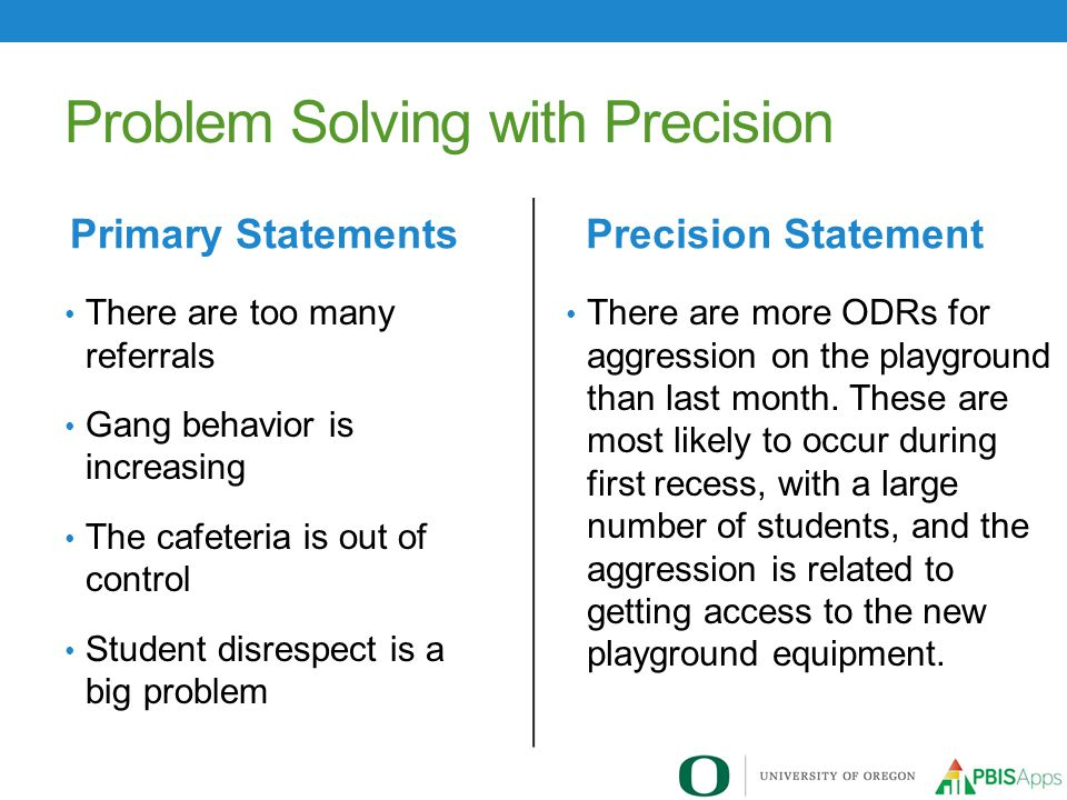 Problem Solving with Precision There are more ODRs for aggression on the playground than last month.