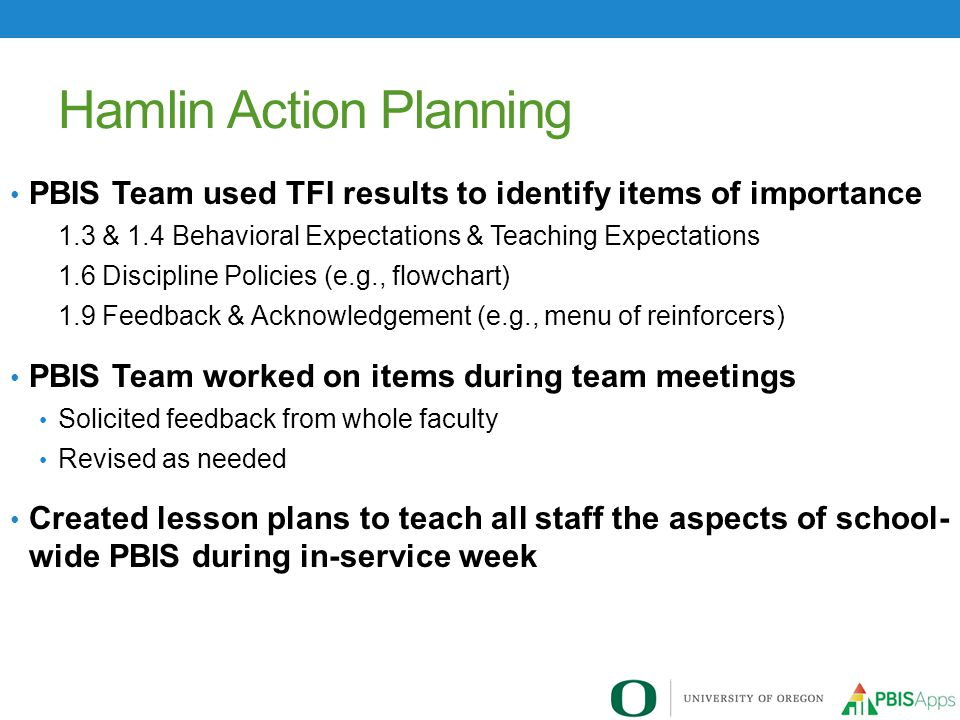 Hamlin Action Planning PBIS Team used TFI results to identify items of importance 1.3 & 1.4 Behavioral Expectations & Teaching Expectations 1.6 Discip