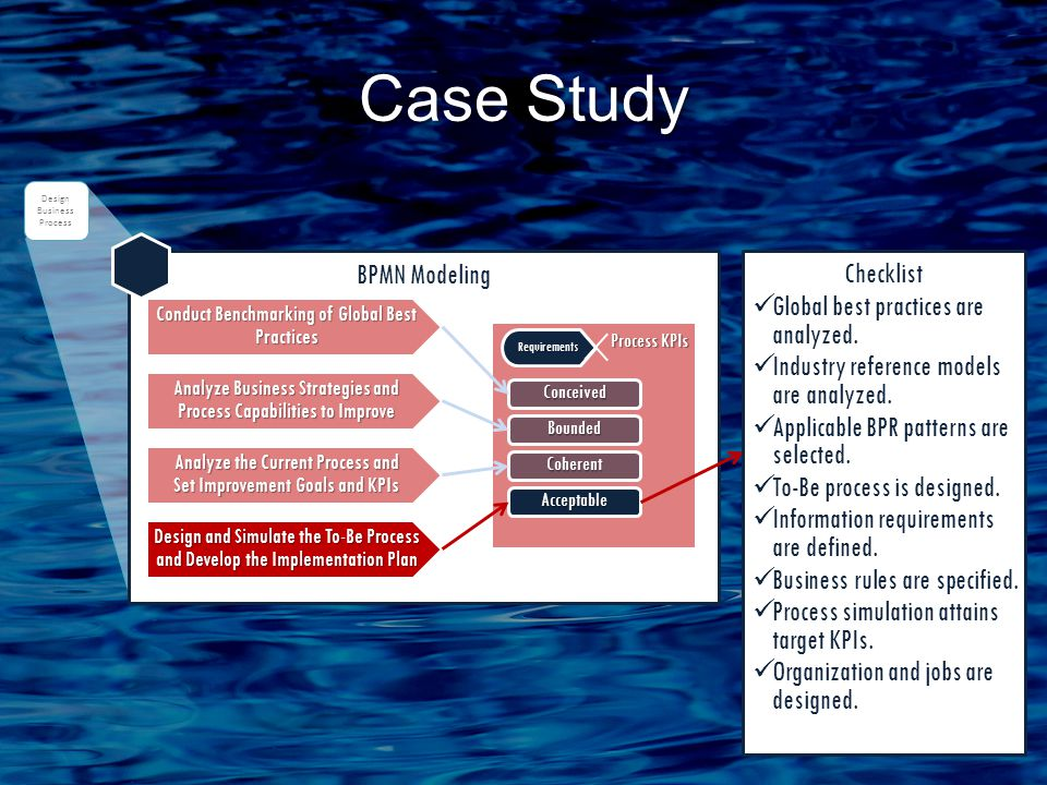 Case Study BPMN Modeling Analyze Business Strategies and Process Capabilities to Improve Analyze the Current Process and Set Improvement Goals and KPIs Design and Simulate the To-Be Process and Develop the Implementation Plan Conduct Benchmarking of Global Best Practices Process KPIs Process KPIs Requirements Conceived Bounded Coherent Acceptable Design Business Process Checklist Global best practices are analyzed.
