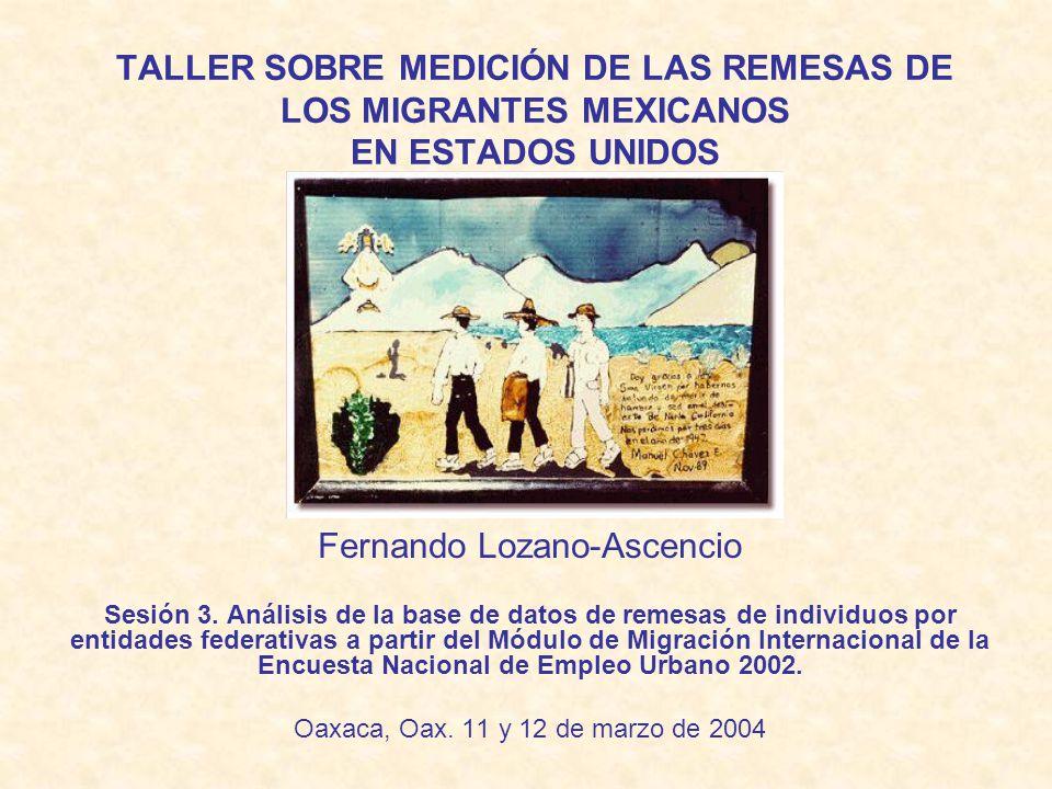 TALLER SOBRE MEDICIÓN DE LAS REMESAS DE LOS MIGRANTES MEXICANOS EN ESTADOS UNIDOS Fernando Lozano-Ascencio Sesión 3.