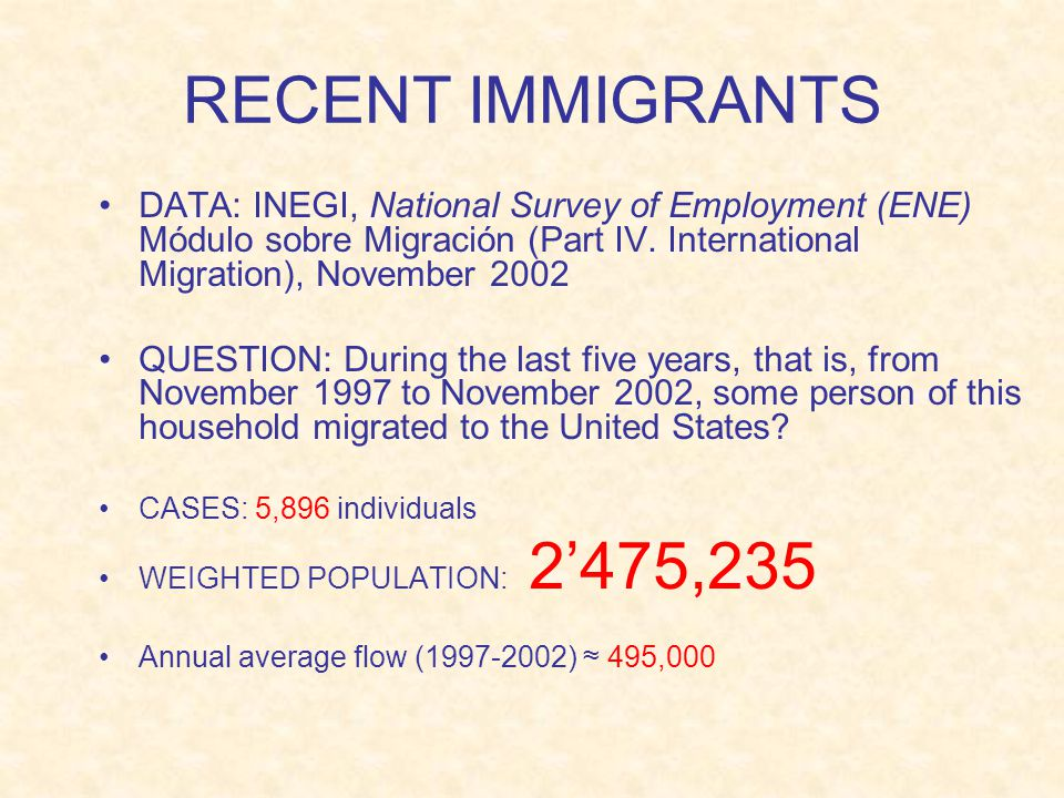 RECENT IMMIGRANTS DATA: INEGI, National Survey of Employment (ENE) Módulo sobre Migración (Part IV.