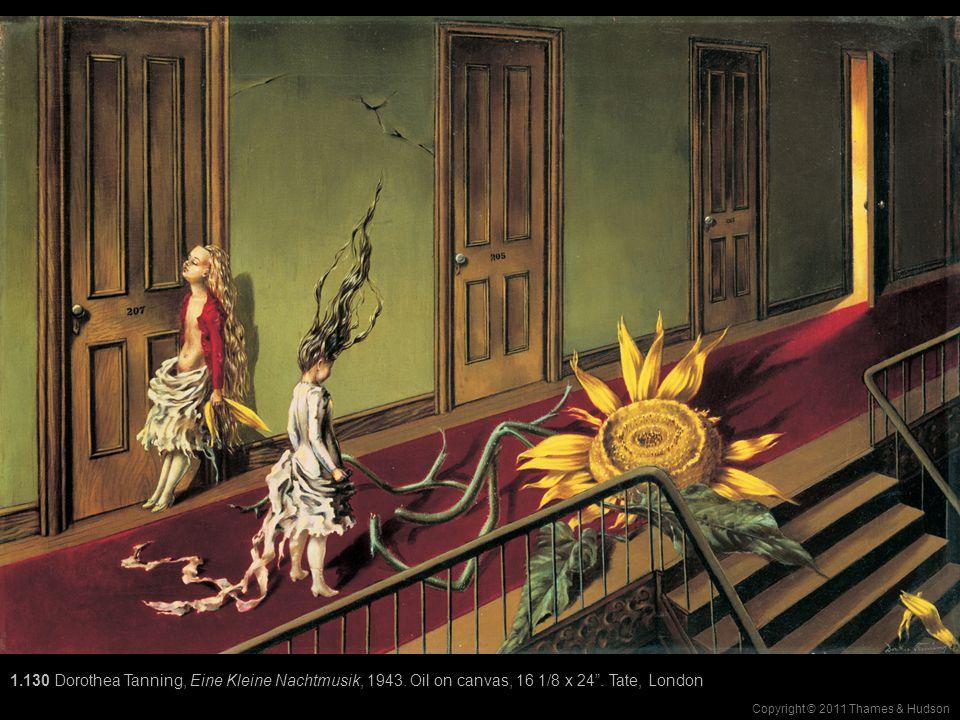 "Copyright © 2011 Thames & Hudson 1.130 Dorothea Tanning, Eine Kleine Nachtmusik, 1943. Oil on canvas, 16 1/8 x 24"". Tate, London"