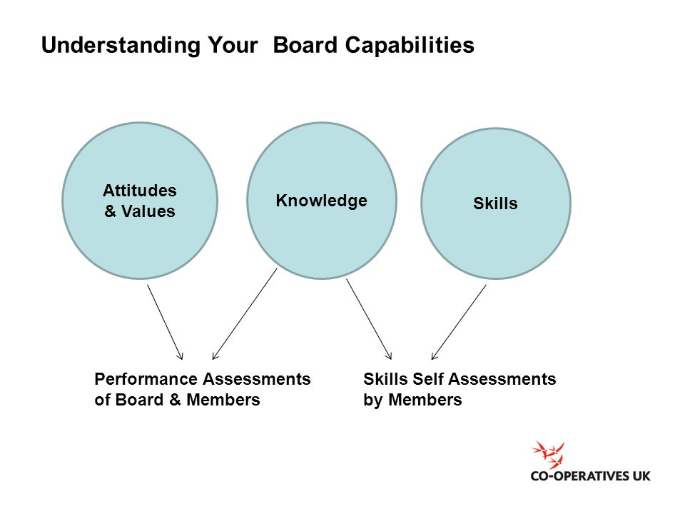 Understanding Your Board Capabilities Attitudes & Values Knowledge Skills Performance Assessments of Board & Members Skills Self Assessments by Member