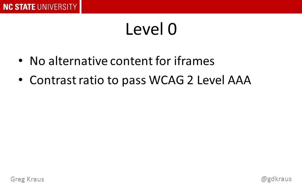 @gdkraus Greg Kraus Level 0 No alternative content for iframes Contrast ratio to pass WCAG 2 Level AAA