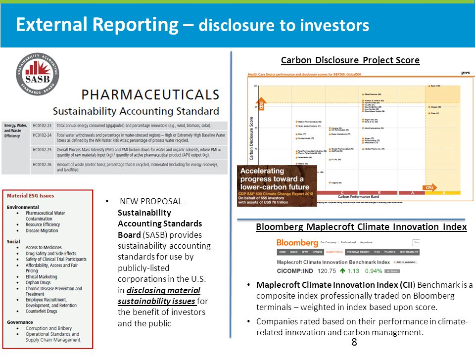 External Reporting – disclosure to investors 8 Carbon Disclosure Project Score NEW PROPOSAL - Sustainability Accounting Standards Board (SASB) provides sustainability accounting standards for use by publicly-listed corporations in the U.S.