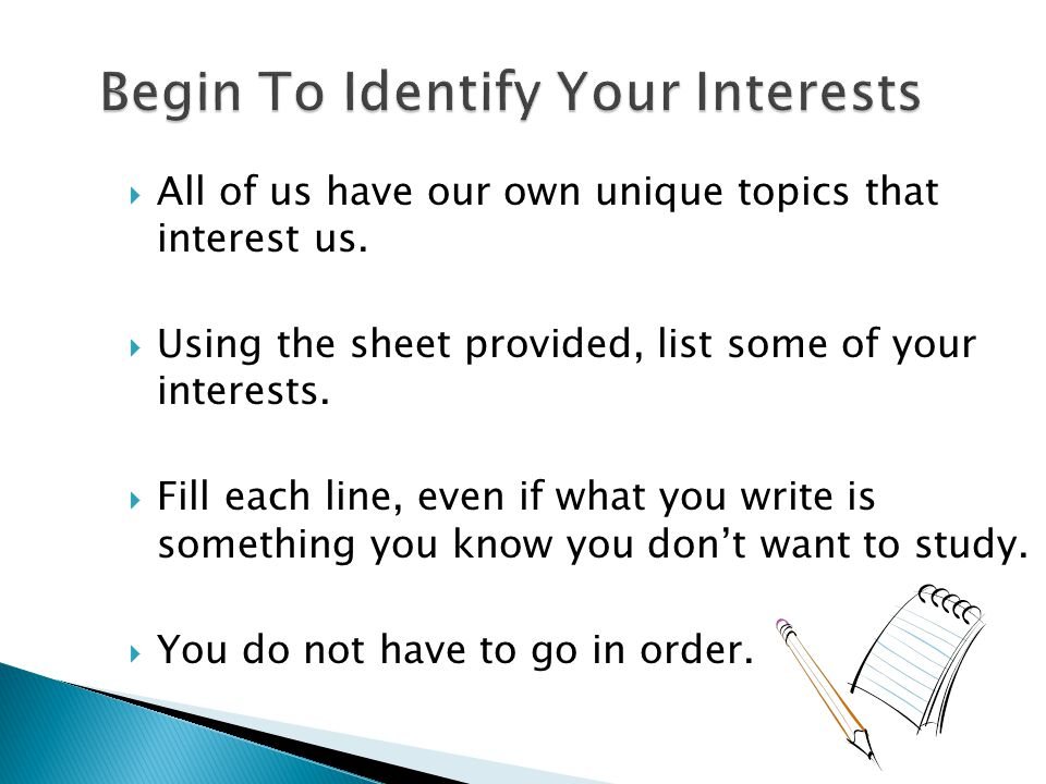  All of us have our own unique topics that interest us.  Using the sheet provided, list some of your interests.  Fill each line, even if what you w