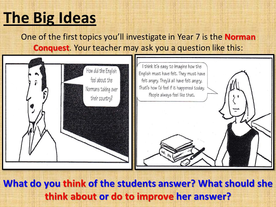 The Big Ideas Norman Conquest One of the first topics you'll investigate in Year 7 is the Norman Conquest.