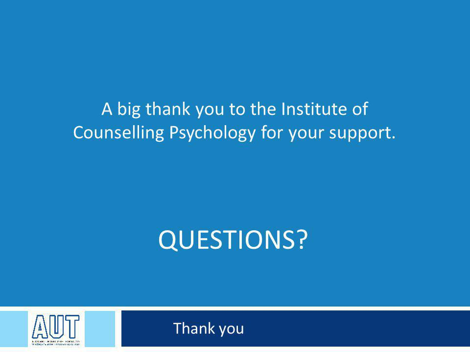 QUESTIONS Thank you A big thank you to the Institute of Counselling Psychology for your support.