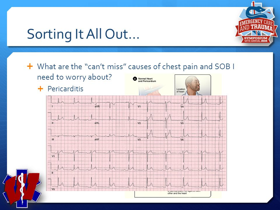 """Sorting It All Out…  What are the """"can't miss"""" causes of chest pain and SOB I need to worry about?  Esophageal Rupture"""