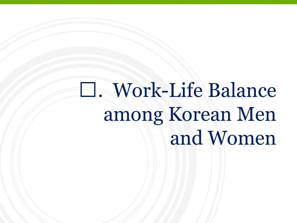 Ⅲ. Work-Life Balance among Korean Men and Women