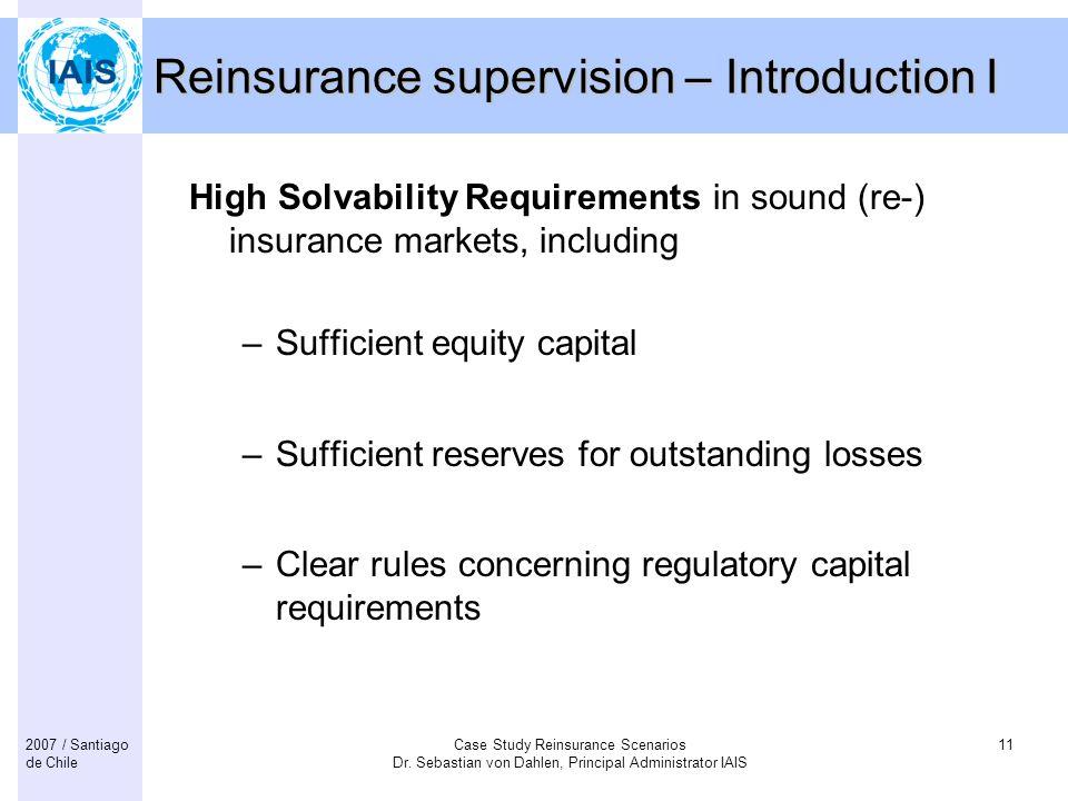Case Study Reinsurance Scenarios Dr.