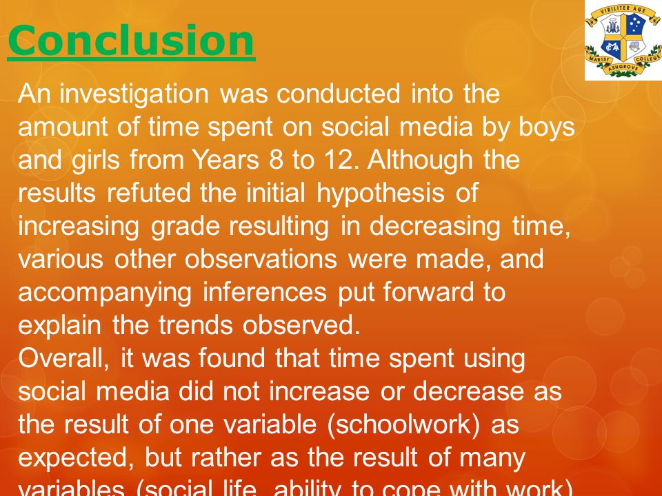 Conclusion An investigation was conducted into the amount of time spent on social media by boys and girls from Years 8 to 12.