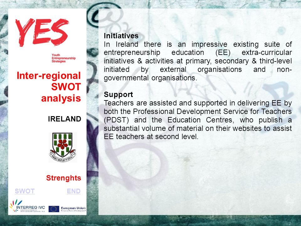 Haga clic para modificar el estilo de subtítulo del patrón Inter-regional SWOT analysis IRELAND Strenghts Initiatives In Ireland there is an impressive existing suite of entrepreneurship education (EE) extra-curricular initiatives & activities at primary, secondary & third-level initiated by external organisations and non- governmental organisations.