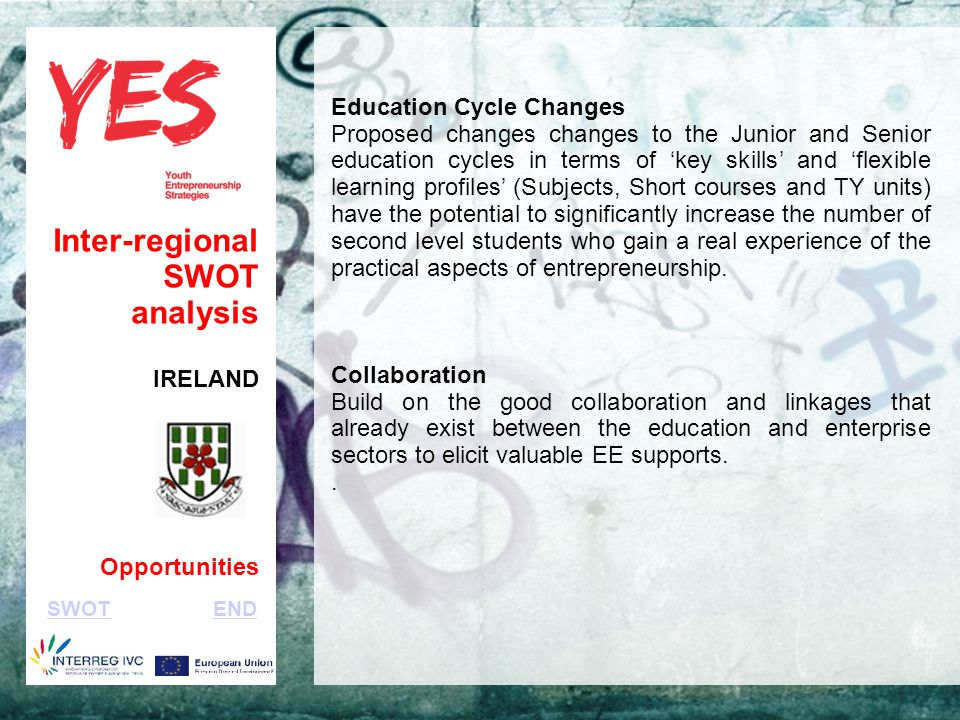 Haga clic para modificar el estilo de subtítulo del patrón Inter-regional SWOT analysis IRELAND Opportunities Education Cycle Changes Proposed changes changes to the Junior and Senior education cycles in terms of 'key skills' and 'flexible learning profiles' (Subjects, Short courses and TY units) have the potential to significantly increase the number of second level students who gain a real experience of the practical aspects of entrepreneurship.