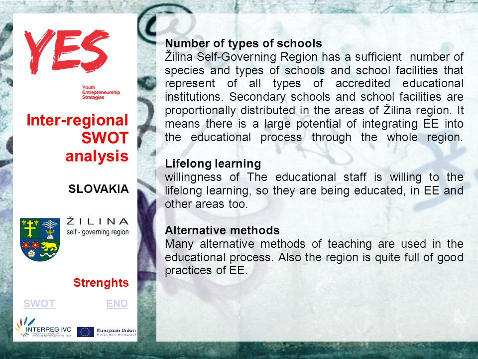 Haga clic para modificar el estilo de subtítulo del patrón Inter-regional SWOT analysis SLOVAKIA Strenghts Number of types of schools Žilina Self-Governing Region has a sufficient number of species and types of schools and school facilities that represent of all types of accredited educational institutions.