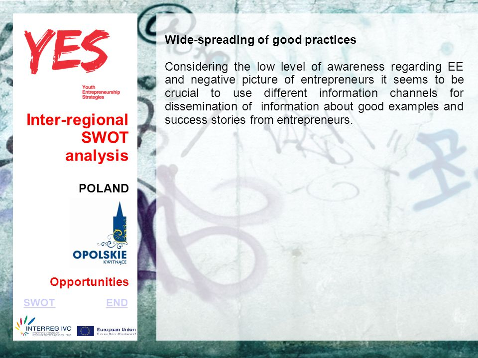 Haga clic para modificar el estilo de subtítulo del patrón Inter-regional SWOT analysis POLAND Opportunities Wide-spreading of good practices Considering the low level of awareness regarding EE and negative picture of entrepreneurs it seems to be crucial to use different information channels for dissemination of information about good examples and success stories from entrepreneurs.