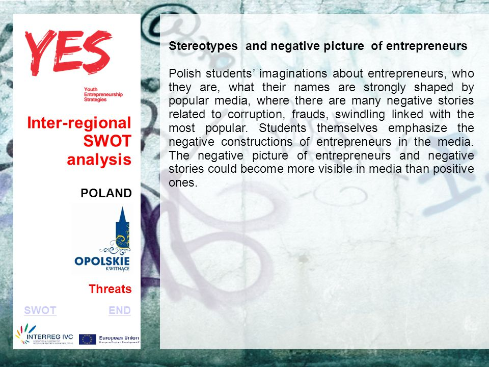Haga clic para modificar el estilo de subtítulo del patrón Inter-regional SWOT analysis POLAND Threats Stereotypes and negative picture of entrepreneurs Polish students' imaginations about entrepreneurs, who they are, what their names are strongly shaped by popular media, where there are many negative stories related to corruption, frauds, swindling linked with the most popular.