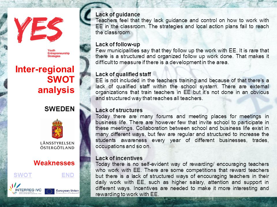 Haga clic para modificar el estilo de subtítulo del patrón Inter-regional SWOT analysis SWEDEN Weaknesses Lack of guidance Teachers feel that they lack guidance and control on how to work with EE in the classroom.