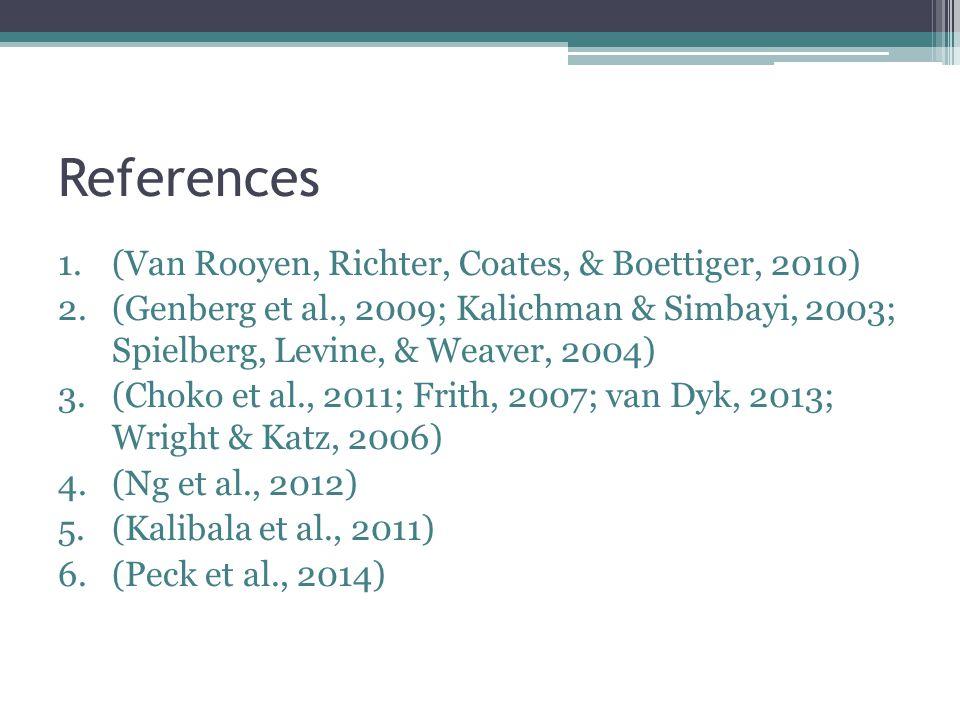 References 1.(Van Rooyen, Richter, Coates, & Boettiger, 2010) 2.(Genberg et al., 2009; Kalichman & Simbayi, 2003; Spielberg, Levine, & Weaver, 2004) 3.(Choko et al., 2011; Frith, 2007; van Dyk, 2013; Wright & Katz, 2006) 4.(Ng et al., 2012) 5.(Kalibala et al., 2011) 6.(Peck et al., 2014)