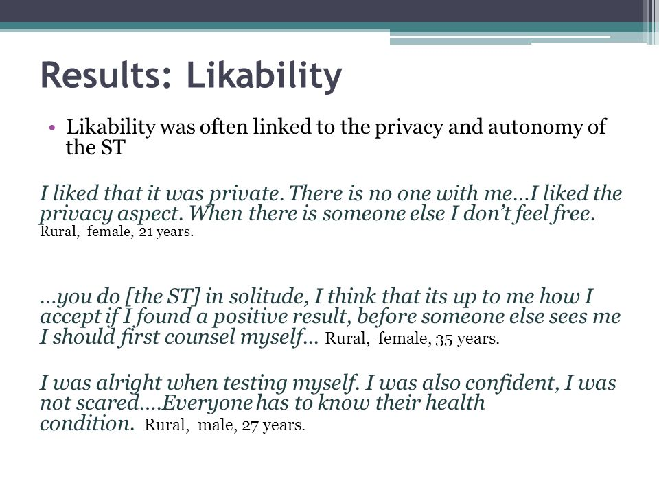Results: Likability ST helped remove the barriers presented by the clinic and ensured confidentiality.
