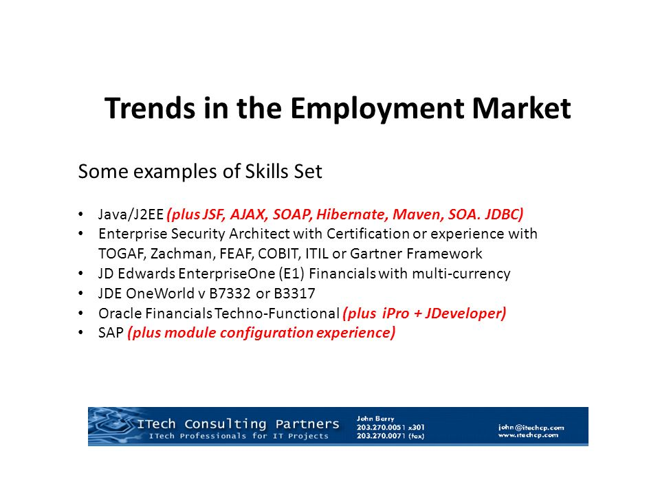 Some examples of Skills Set Java/J2EE (plus JSF, AJAX, SOAP, Hibernate, Maven, SOA. JDBC) Enterprise Security Architect with Certification or experien