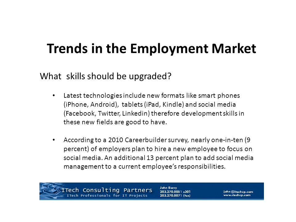 What skills should be upgraded? Latest technologies include new formats like smart phones (iPhone, Android), tablets (iPad, Kindle) and social media (